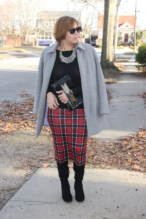 windsor skirt - Target boots - Forever 21 coat - Loft sweater - Aldo bag