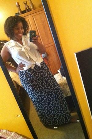 navy I made this skirt skirt - white neck tie blouse H&M blouse