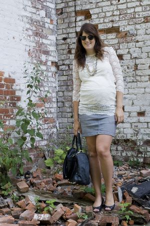 black Spotted Moth purse - white Forever 21 shirt - gray H&M skirt - silver Loft