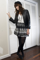 black Forever 21 jacket - gray Forever 21 skirt - black H&M hat