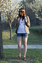 brown vintage blazer - blue Target shorts - brown Rockport shoes