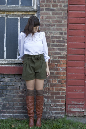 brown thrifted vintage boots - green Urban Outfitters shorts - white thrifted vi