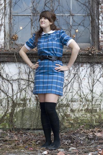 blue Beacons closet dress - black Forever 21 belt