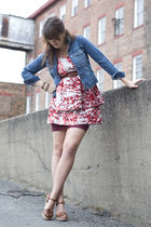 red modcloth dress - blue Gap jacket - brown Steve Madden shoes
