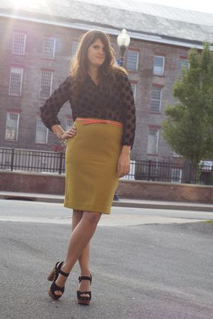 black madewell blouse - gold JCrew skirt - black Jeffrey Campbell shoes