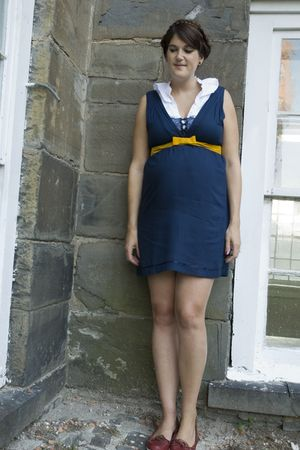 blue modcloth dress - red Timberland shoes