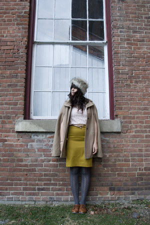 mustard JCrew skirt - tan cape vintage coat
