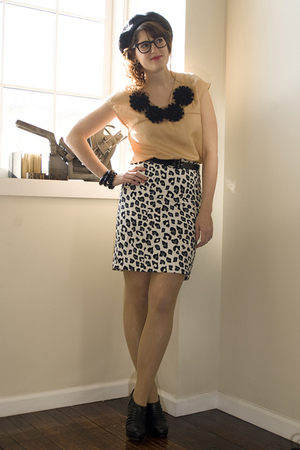 beige Ruche blouse - black Anne Michelle shoes - white snow leopard Target skirt