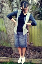 skirt - shoes - shirt - cardigan - vest