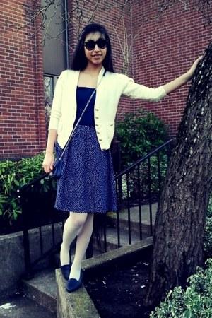skirt - shoes - tights - bag - top - cardigan