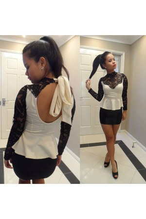 Peplum Top top - Leather Panel Mini Skirt skirt - Peep toe pumps heels