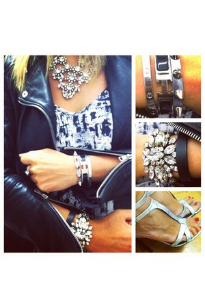 rhinestone Jcrew necklace - leather jacket Zara jacket