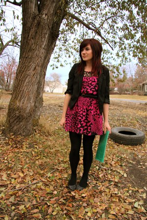 hot pink Forever 21 dress - black silence and noise blazer - teal thrifted