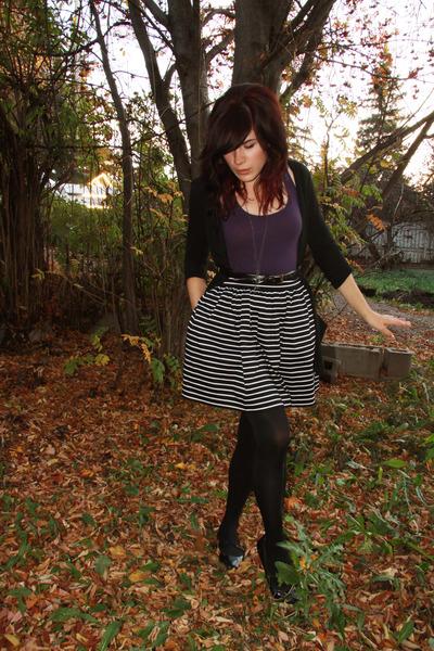 black Urban Outfitters cardigan - f21 skirt - purple Urban top