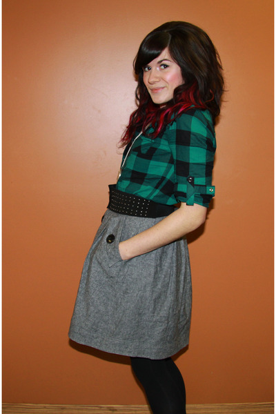 green Forever 21 shirt - black H&M belt - silver Forever21 skirt - black H&M sto
