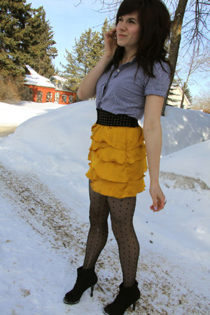 black Payless shoes - blue vintage top - gold f21 skirt