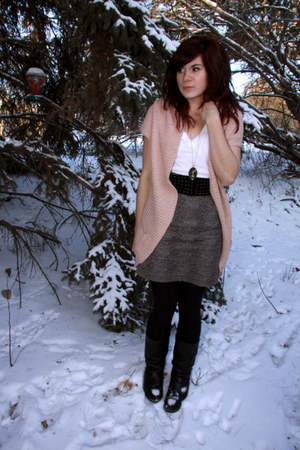 light pink Forever 21 cardigan - charcoal gray Forever 21 skirt - black H & M be