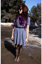 sky blue dress - deep purple scarf - black belt