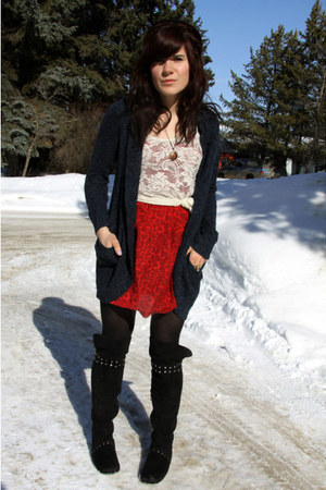 ruby red Urban Outfitters dress - navy f21 cardigan - ivory top