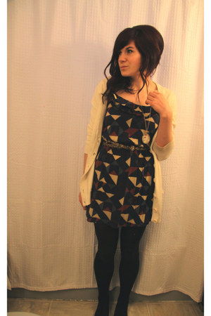 navy f21 dress - cream thrifted cardigan - tawny leopard print H&M belt