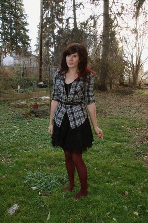 brick red Forever 21 tights - heather gray flannel top