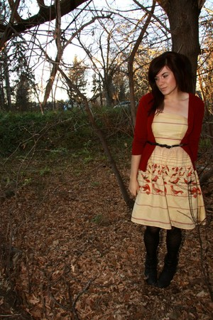 red sweater - beige Forever 21 dress - black H&amp;M tights