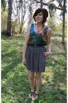 blue silk Costa Blanca top - black striped f21 skirt - black Trhifted belt