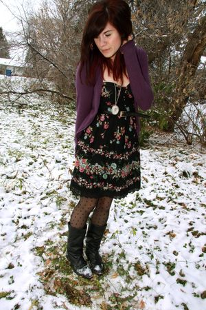black f21 dress - purple H & M cardigan