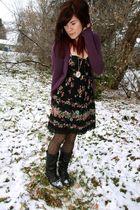 black f21 dress - purple H & M cardigan