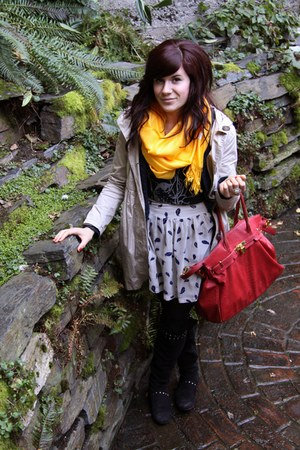 yellow scarf - navy skirt
