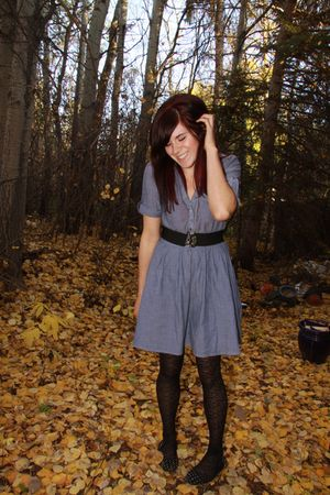 blue H&M dress - black tights