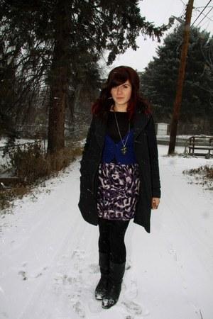 purple Forever 21 skirt - charcoal gray Forever 21 jacket - blue Smart Set sweat