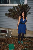 blue American Apparel dress - green Aldo shoes