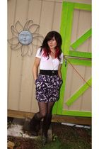 purple Forever 21 skirt - white t-shirt - black H & M belt