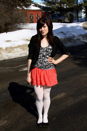 black blazer - white tights - black top - coral skirt