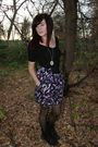 Purple-f21-skirt-black-american-apparel-top-polka-dots-tights
