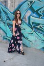 Flower-print-the-reformation-dress-clubmaster-sunglasses