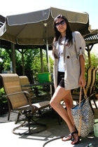 Forever21 t-shirt - Macys coat - Forever21 shorts - Steve Madden shoes - coach p
