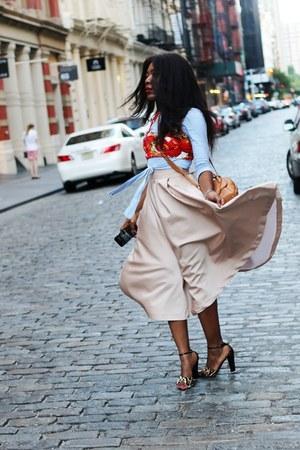 H&M skirt - Zara shirt - Salvatore Ferragamo bag - Giuseppe Zanotti sandals