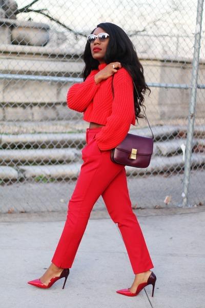 red H&M sweater - maroon Celine bag - white Valentino sunglasses
