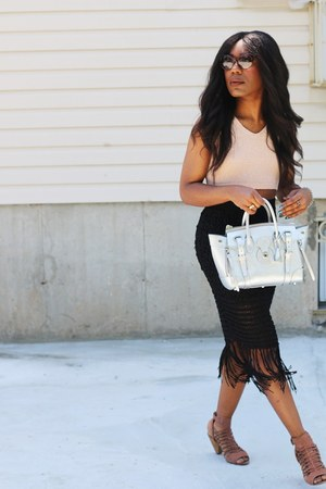 black Club Monaco skirt - brown Vince Camuto shoes - silver Ralph Lauren bag