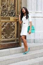 white Club Monaco dress - turquoise blue Mulberry bag - teal Prada pumps