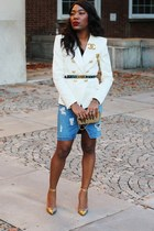ivory H&M Trend blazer - sky blue rag & bone skirt - gold Manolo Blahnik heels