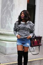 black banana republic sweater - black stuart weitzman boots