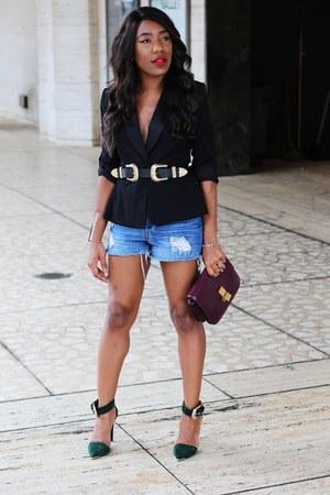black altuzarra Target jacket - maroon Celine bag - sky blue H&M shorts