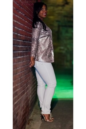 nude gold paisley warehouse blazer - white white denim canyon river blues jeans