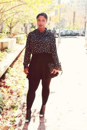 polka dot Target top - metal captoe H&M boots - skater skirt H&M skirt