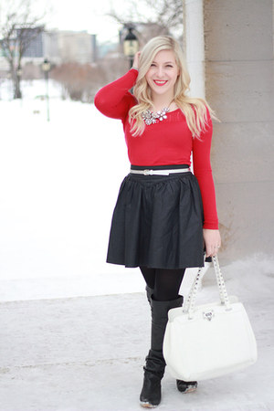 black leather Steve Madden boots - red knit Buffalo sweater