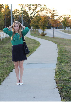 emerald Forever 21 blouse - navy lace Forever 21 skirt