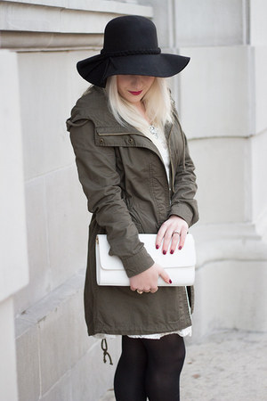 black floppy wool Target hat - olive green utility Forever 21 coat